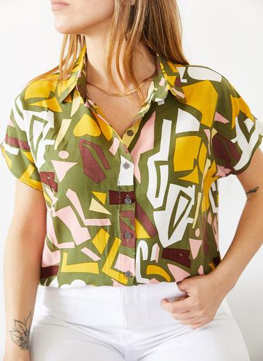 XHAN Yeşil Desenli Kısa Kollu Gömlek 0Yxk2-43781-08 Yeşil